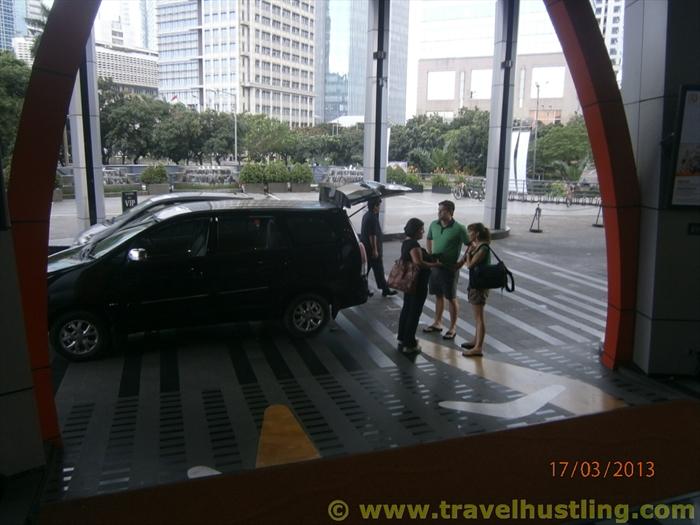 Outside Century Park Hotel in Jakarta